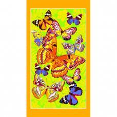 Полотенце вафельное пляжное Бабочки желтый 150/80