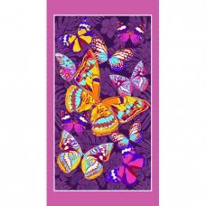 Полотенце вафельное пляжное Бабочки фиолетовый 150/80