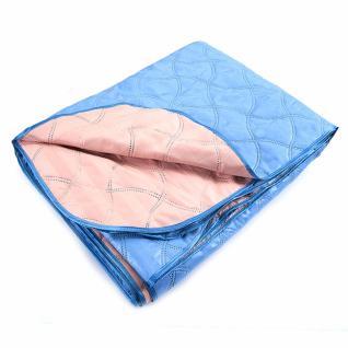 Покрывало голубой-персиковый 150/210