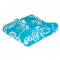 Одеяло детское байковое жаккардовое 140/100 см. цв. синий
