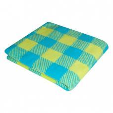 Одеяло детское байковое жаккардовое Клетка 140/100 см. цв. синий/желтый