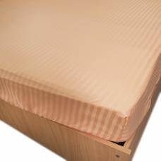 Простынь на резинке страйп-сатин, 113 цв. персиковый 140*200*20 см