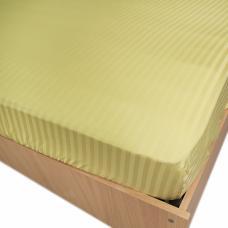 Простынь на резинке страйп-сатин, 312 цв. фисташковый 140*200*20 см