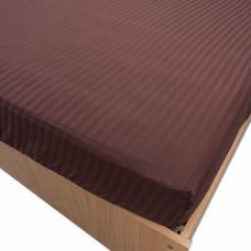 Простынь на резинке страйп-сатин, 896 цв. шоколадный 140*200*20 см