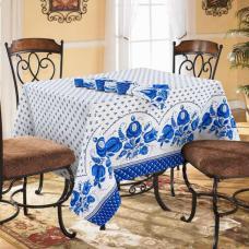 Столовый набор Гжель, скатерть полулен 150/220+ 6 салфеток