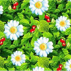 """Ткань вафельное полотно набивное 150 см №391/2 """"Жаркое лето"""" цвет зелёный на отрез"""
