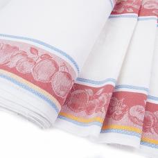 Ткань на отрез полулен полотенечный Жаккард цв. красный шир 50