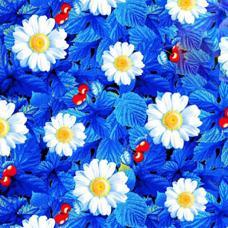 Ткань на отрез вафельное полотно набивное 150 см №391/1 Жаркое лето цвет голубой