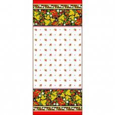 Ткань на отрез вафельное полотно набивное, 150 см №195/1 Хохлома цвет белый