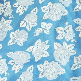 "Ткань Тик ""Розы"" цвет голубой шир. 220 см, пл  100 +/- 5 гр/м2, 100% полиэстер"