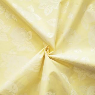 """Ткань Тик """"Розы"""" цвет жёлтый шир. 220 см, пл  100 +/- 5 гр/м2, 100% полиэстер"""