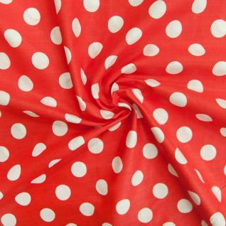 Ткань бязь плательная 1422/1 Красный фон, белый крупный горох