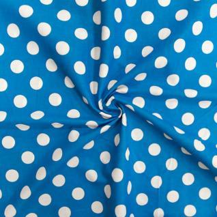 Ткань бязь плательная 1422/2 Голубой фон, белый крупный горох