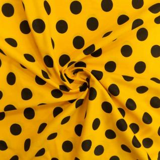 Ткань бязь плательная 1422/4 Желтый фон, черный крупный горох