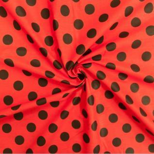 Ткань бязь плательная 1422/6 Красный фон, черный крупный горох