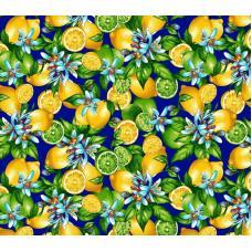 Ткань на отрез фланель грунт, ширина 150 см, лимоны на синем фоне